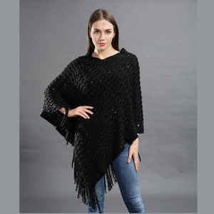 ONE PLUS Size Knit Poncho with Fringe